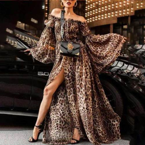 Leopard Print Long Sleeves Dress Women 2019 summer Elegant Off Shoulder Party Dress Sexy Split Long Dress Plus Vestidos