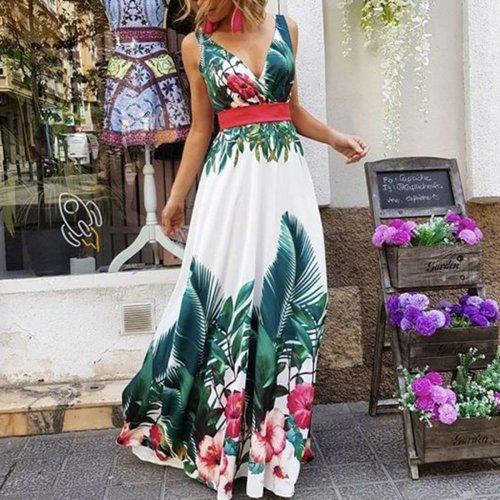 2020 Women Fashion Sleeveless Floral Print Maxi Dress