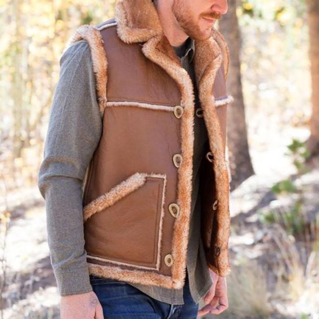 Mens classic retro solid color plush stitching vest