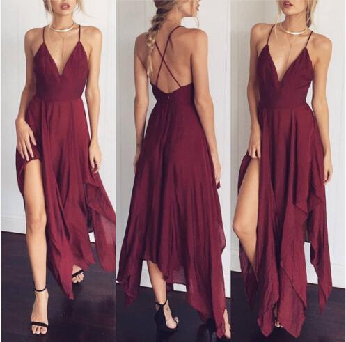 Women Deep V Neck Ladies Casual Beach Dress Sundress Women Clothing Dresses Party Sleeveless