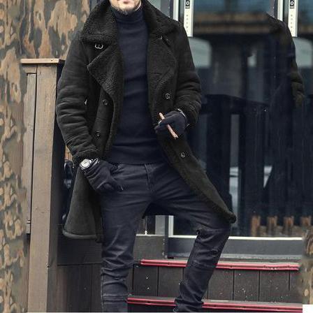 Fashion Casual Wide Lapel Woolen Double-Breasted Plain Long Coat