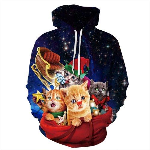 Funny Cat Print Pullover Hoodie Long Sleeve Sweatshirt Jacket Coat with Pockets