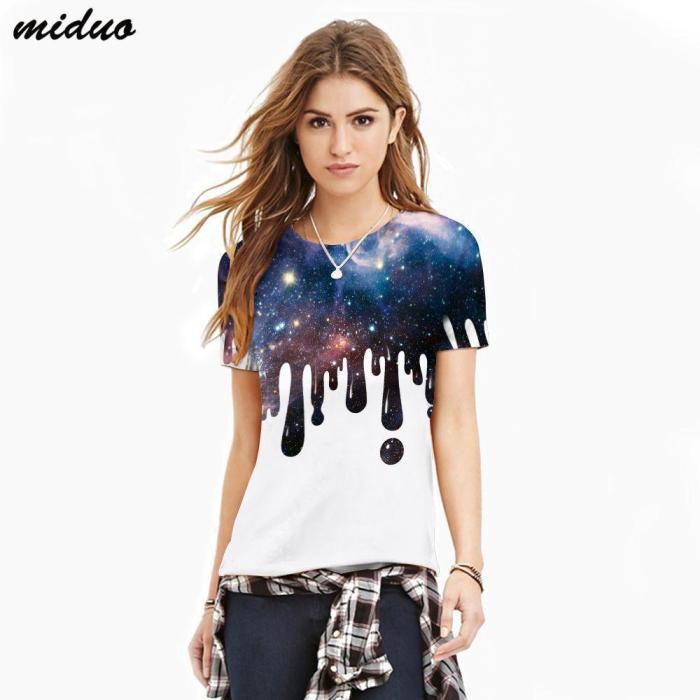 3D Splash Printed Casual Short Sleeve T-shirt