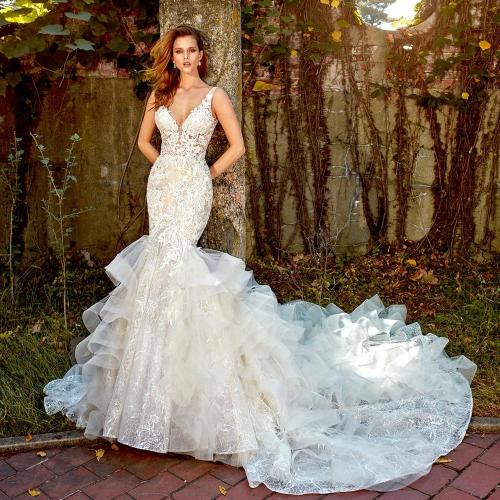 Crystal Appliques Lace Mermaid Wedding Dress With Ruffles Skirt Aliexpress Login V-neck Backless Illusion Trumpet Bridal Gowns