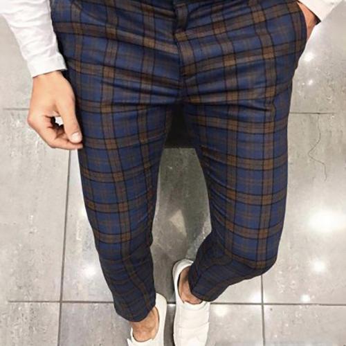 Campus Style Plaid Slim Fit Pants