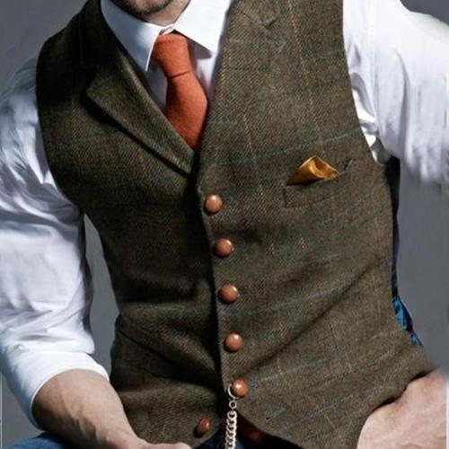 Formal Single-breasted Printed Color Men Vest