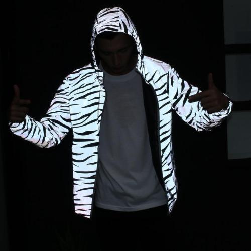 2020 3M Reflective Light Jacket Men Mesh Style Noctilucent Zebra Jackets Hip Hop Streetwear Skateboard Waterproof Coat Outwear