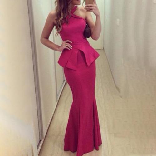 Elegant Sexy Sleeveless Halter Fishtail Evening Dress