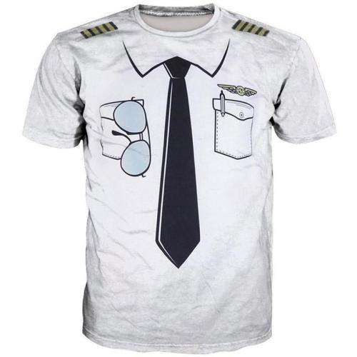 Fake Tie Print Short Sleeve T-shirt
