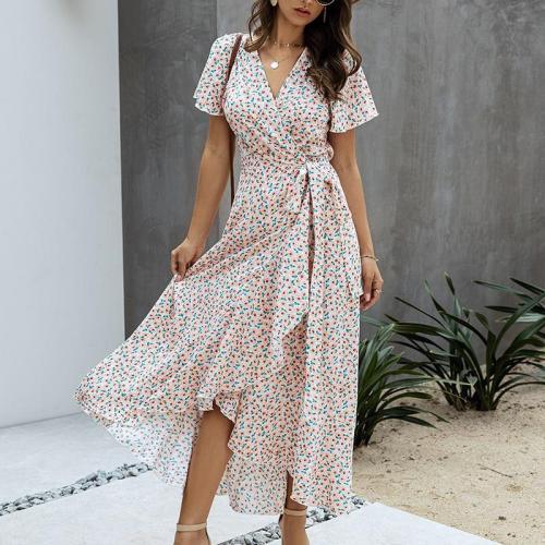 Short Sleeve Floral Print Beach Casual  Long Maxi Dresses