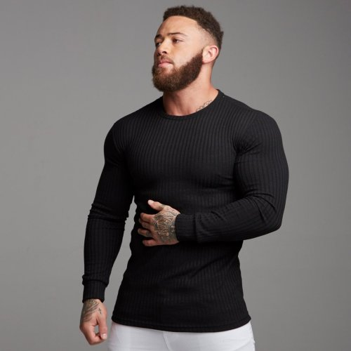 Cheap Mens Fitting long-Sleeved Round Neck T-shirts