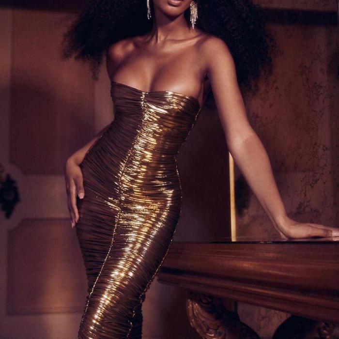 Fashion Retro One Shoulder Sleeveless Bodycon Dress