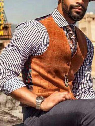 Flashmay Fashion Printed Pockets V Neck Vest