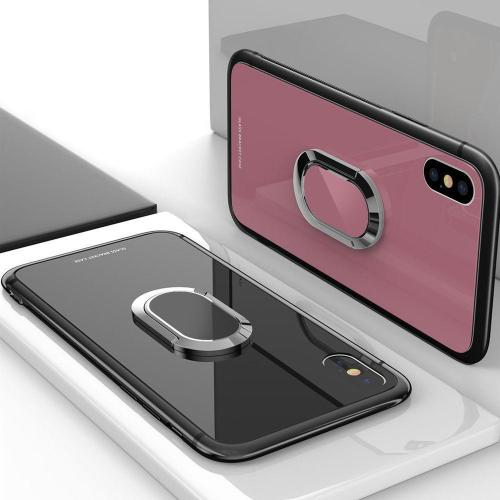 Tempered Glass Magnetic Car Bracket Case For iPhone6 7 8 Plus X