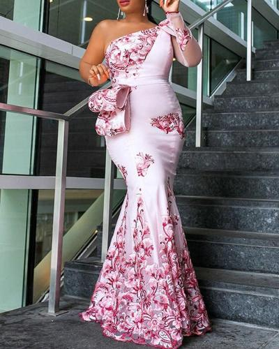 One-shoulder Slim Printed Sexy Evening Dress