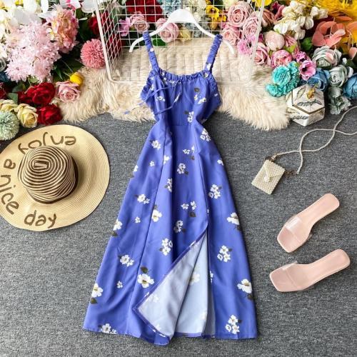 JOYMANMALL Women Summer Daisy Strap Dress Korean Fashion Sexy Split A-line Dress French Romantic Boho Print Midi Beach Sundress