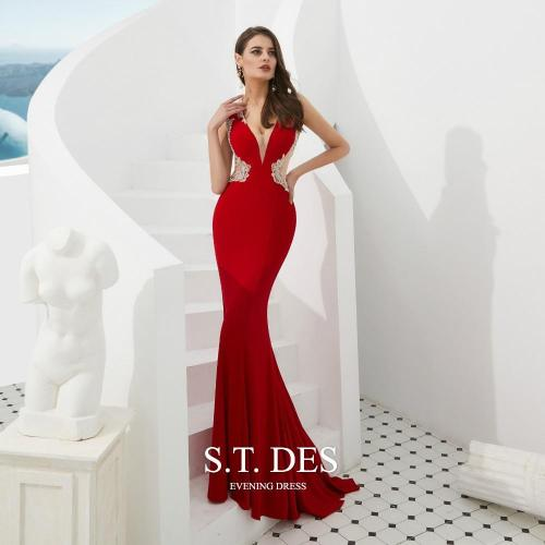 2020 S.T.DES Sexy Red V-Neck Crystal Beaded Sheer Neck Cutaway Sides Prom Dress Illusion Back Sweep Train Mermaid Evening Dress