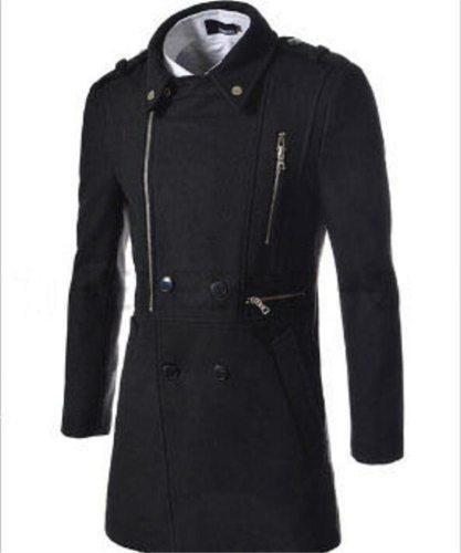Men Coat Double Breasted Overcoat New Products Men's Fashion Multi-zipper Design Lapel Woollen Coat Turn-down Collar Wool Blend