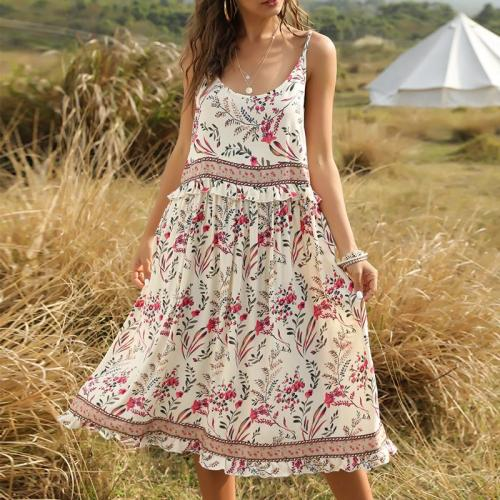 Sexy Sleeveless Strap Long Dress Retro Elegant O Neck Ruffle Floral Print Boho Beach Maxi Dress