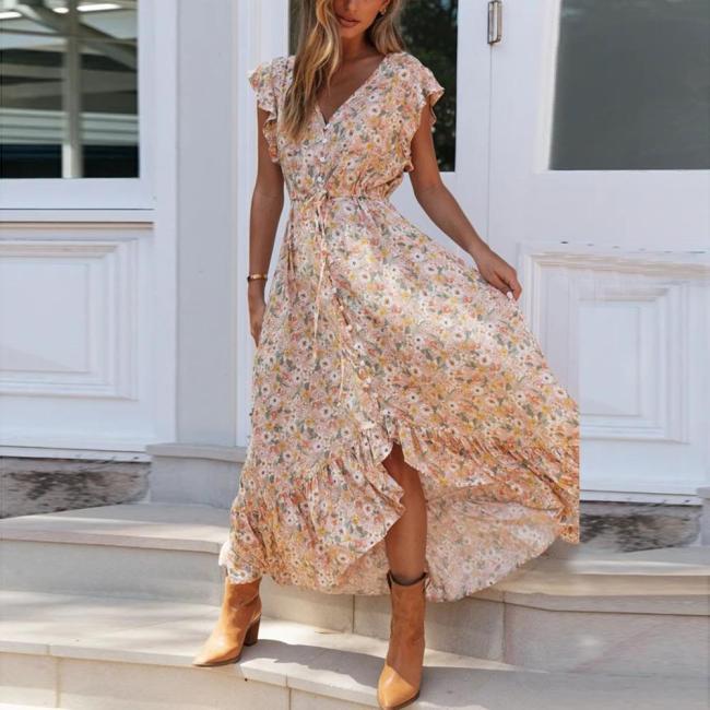 2020 Summer Dress Women Floral Print Long Chiffon Bohemian Dress Short Sleeve Boho Style Maxi Dress Ruffles Sundress Vestido#J30
