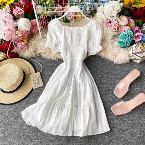 JOYMANMALL Women Summer Slash Neck Short Dress Sweet Puff Sleeve Elastic Ruched A-line Dress Sexy Off Shoulder Simple Solid Dress