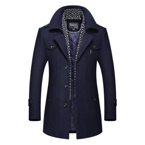 New Casual Winter Woolen Coat Men Size M-3Xl Scarf Collar Long Sleeve Single Breasted Thick Outwear Slim Jacket For Men Ds50814