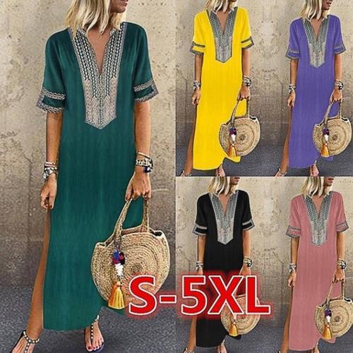 Summer Women Dress Short Sleeve Boho V Neck Casual Loose Print Boho Straight Solid Kaftan Summer Dress Ladies Long Plus Size 5XL