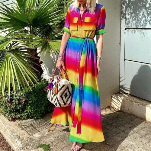 Tie-dye Vintage Gradient Rainbow Button Belted Bohemian Maxi Dress Jeans Dresses Party 2020Casual Dress