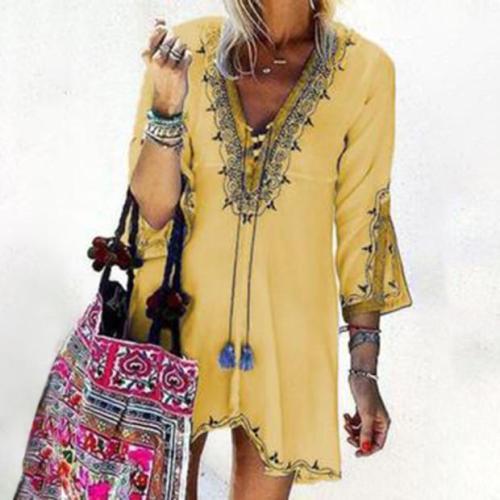 Fashionable Collar Irregular Ethnic Style Print Dress