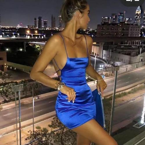 Spaghetti Strap Mini Satin Dress Women Sexy Backless Cross Bandage Bodycon Party Pleated Stretch Short Club vestido vintage size