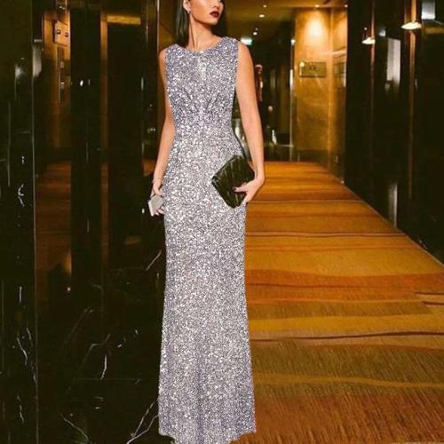 New Sexy Slim Sleeveless Sequin Evening Dress