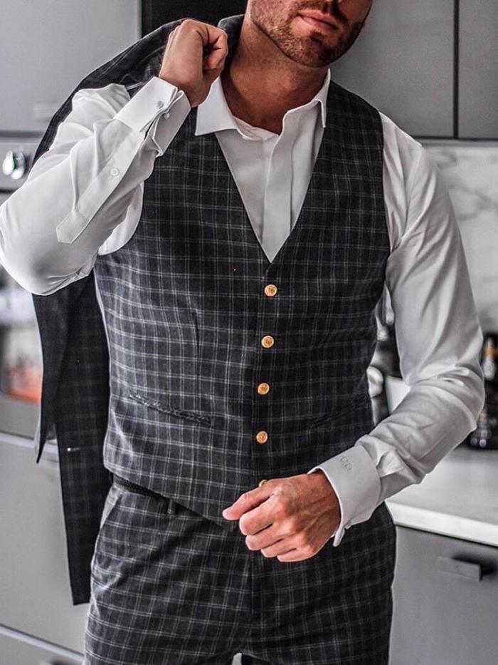 Men's Plaid Lapel Business Vest