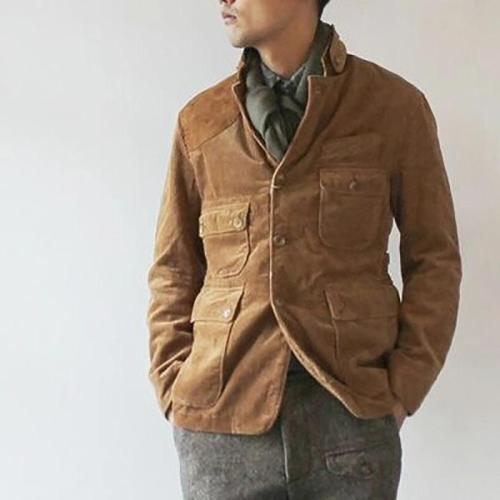 Casual Single-Breasted Slim Stand Collar Coat
