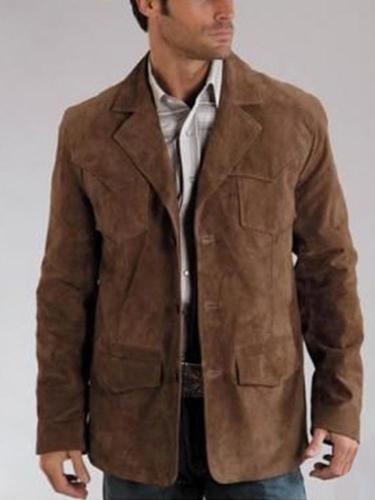 Formal Solid Color With Lid Pocket Men's Blazer