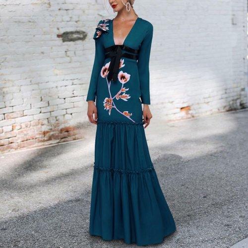 Sexy Deep V Collar Belt Bow Floral Printed Maxi Dress