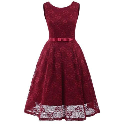 fashion sexy New Short Lace Evening Dress sleeveless formal dress bowknot evening gown Party Dresses abiye gece elbisesi