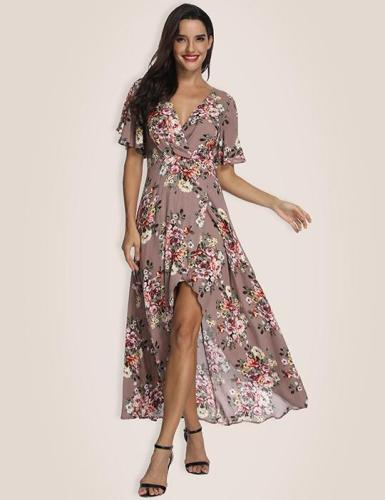 Brown Feminine Type High Low Maxi Dress