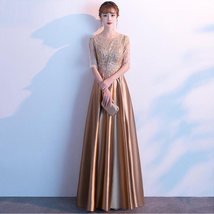 Gold dress performance dress banquet evening dress host long dress slim dress