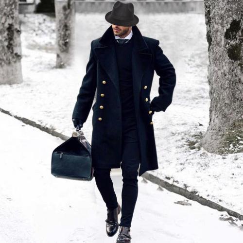 Woolen coat  British double-breasted military style wind woolen coat
