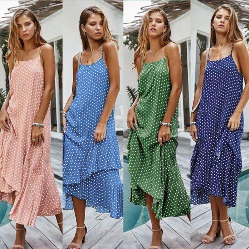 Boho Summer Dress Woman Spaghetti Strap Polka Dot Woman's Dress Loose Ruffle Dresses Summer Casuak Boho Beach Dress Vestido Robe