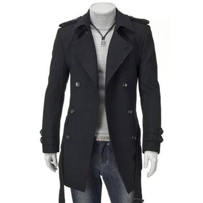 Casual Lapel Collar Plain Double Button Long Overcoat