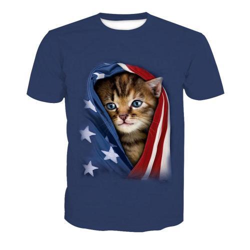 3D Cat Print Short Sleeve Men's T-Shirt