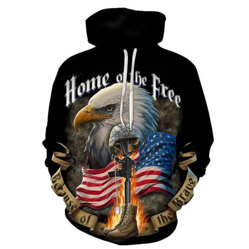 Fashion Loose Comic Eagle Floral Printed Hoodie With Hat