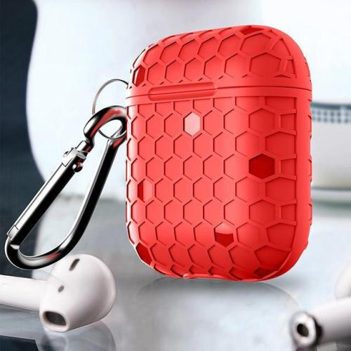 Grid Silicone AirPods Case Protective Cover With Keychain