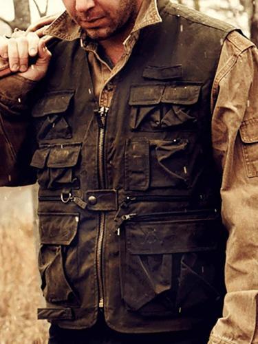 Vintage Pure Color Zipper Vest