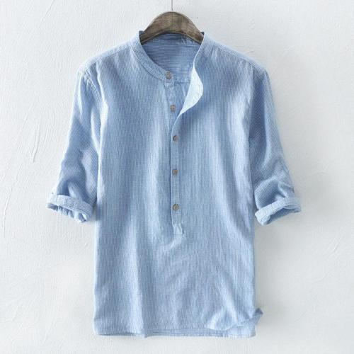 Mens Breathable Striped Printed Half Sleeve Loose Casual Buttons T-shirts