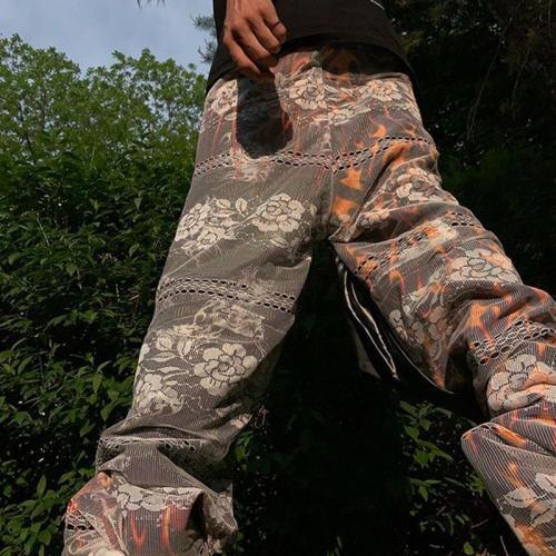Vintage pattern casual loose mens trousers TT010