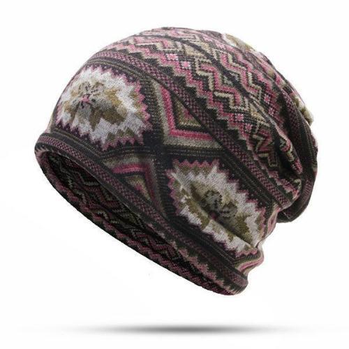 Men Waves Print Beanies Casual Windproof Warm Scarf Bonnet Hats