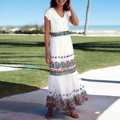 Fashion V-Neck Short-Sleeved Print Dress