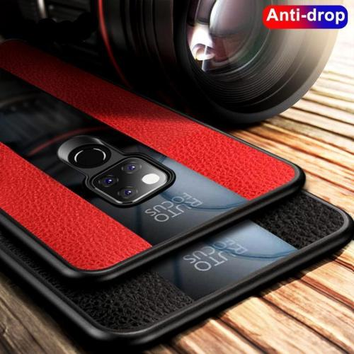 Litchi Leather & Glass Phone Case For Huawei Mate 20 Pro 20X Mate 10 9 Pro Shockproof